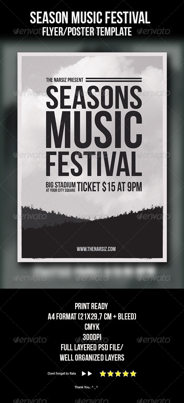 Season Music Festival Flyer Template - Concerts Events