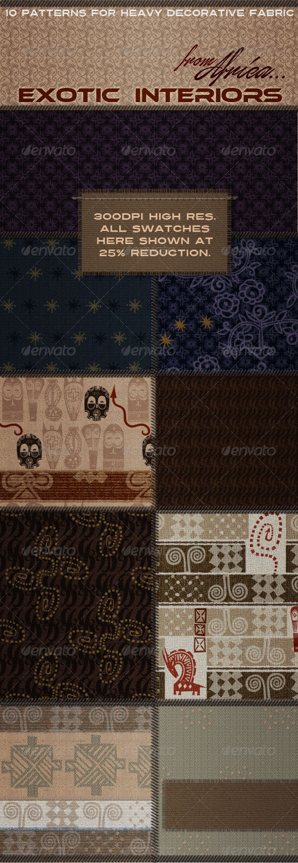 GraphicRiver African Fabric Designs for Interiors & Furnishing 4411358