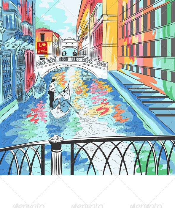 GraphicRiver Vector Landscape the Bridge of Sighs in Venice 4411595