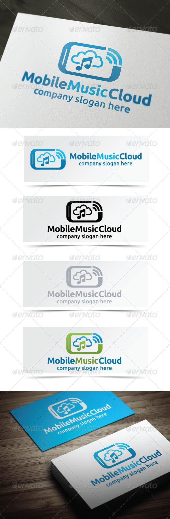 Mobile Music Cloud - Objects Logo Templates