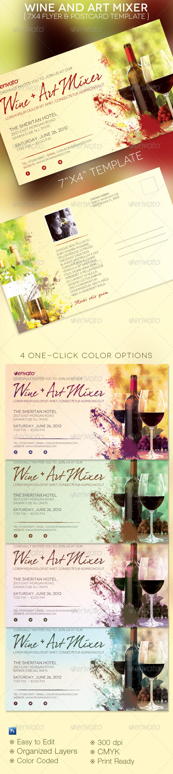 Wine & Art Mixer Flyer Template - Restaurant Flyers