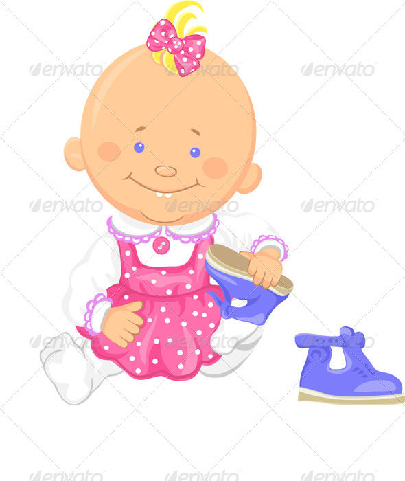 Vector Baby Girl Learns to Put on Shoes - People Characters