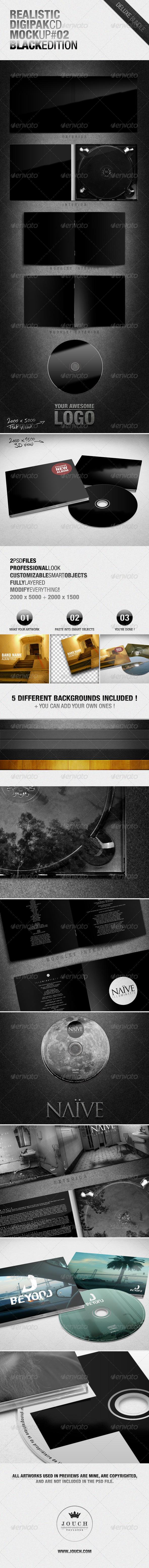 GraphicRiver Realistic Digipak CD Mockup #02 Black Edition 4413201