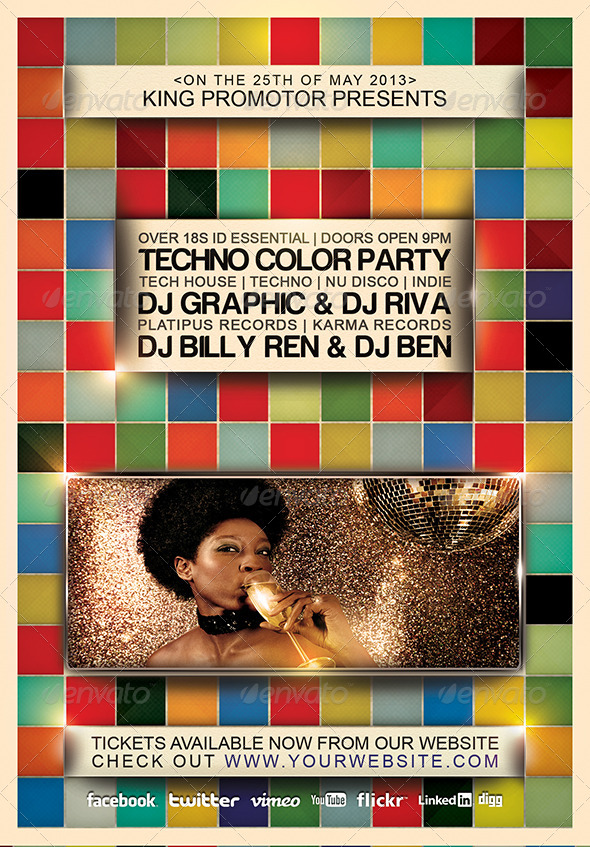 Techno Color Flyer - Clubs & Parties Events