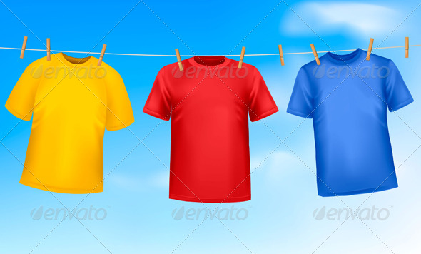 GraphicRiver Three T-Shirts Hanging on a Clothesline 4413774