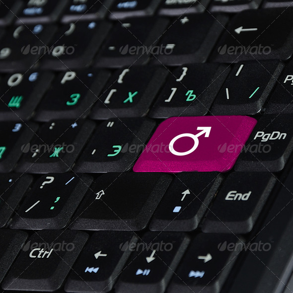 Keyboard with button showing the chat icon - Stock Photo - Images