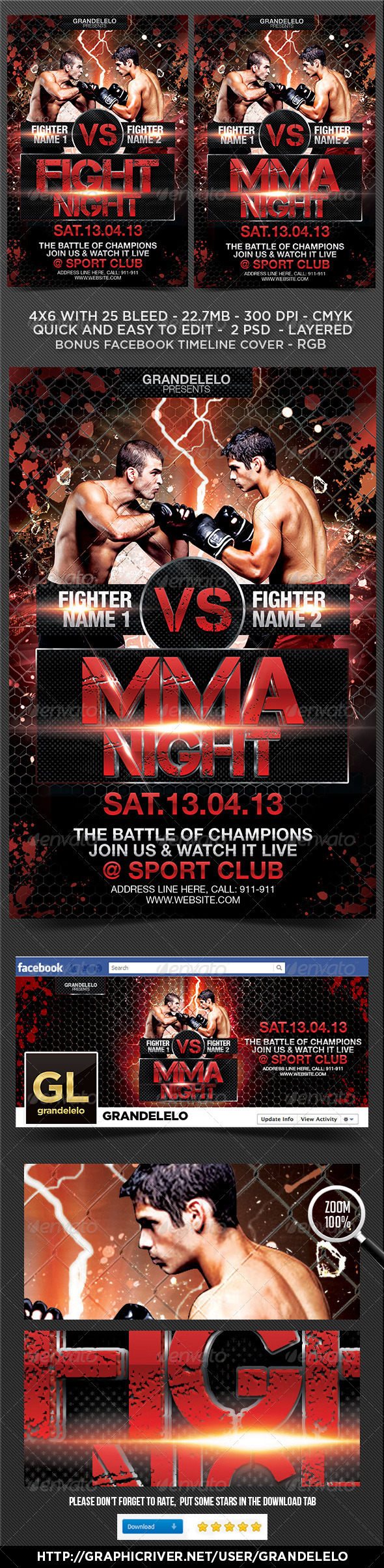 GraphicRiver Fight or MMA Night Flyer Template 4233675