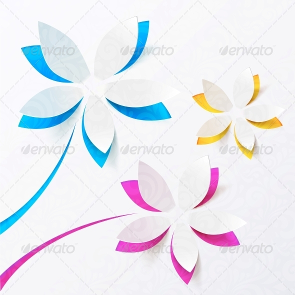 GraphicRiver Paper Flowers Vector Greeting Card Template 4415995