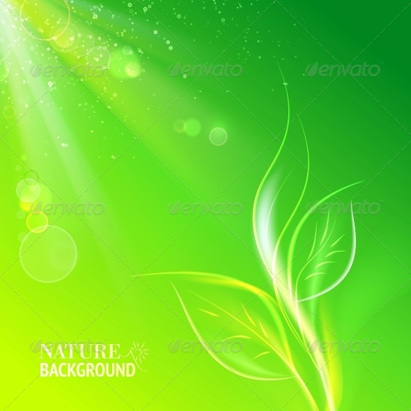 GraphicRiver Green Leaves Bright Sun 4416076