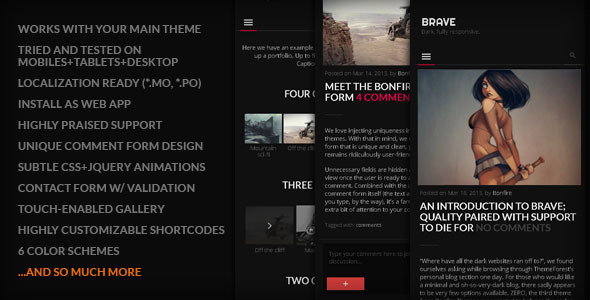 ThemeForest BRAVE Dark clean fully responsive By Bonfire 4416888