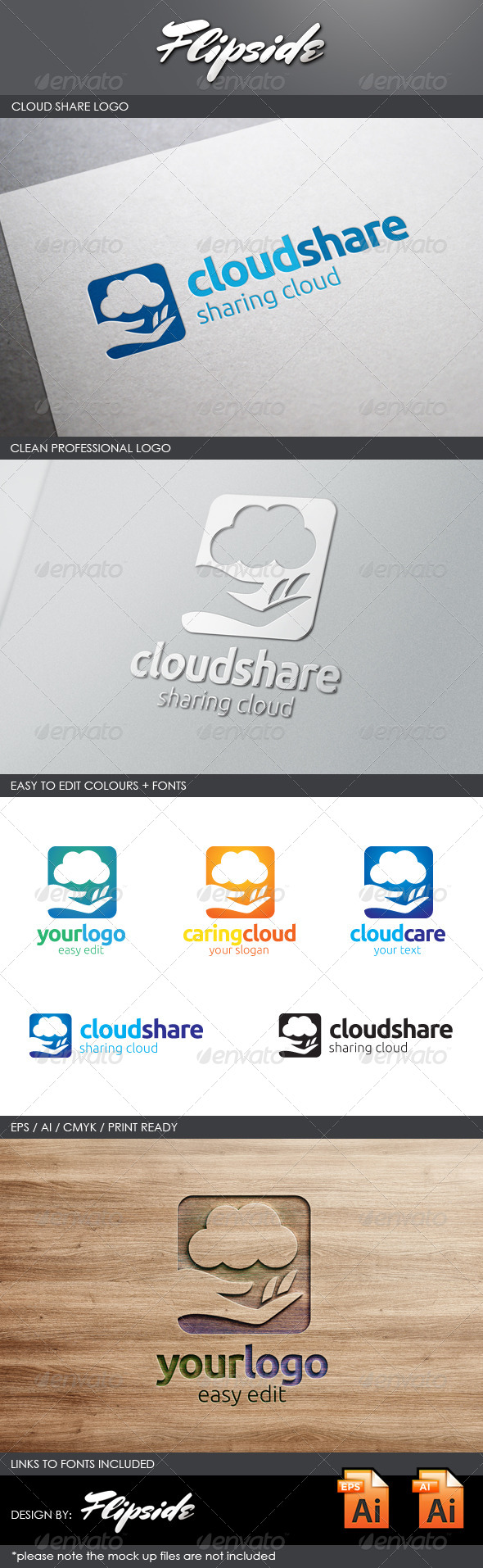 GraphicRiver Cloud Share Logo 4343255