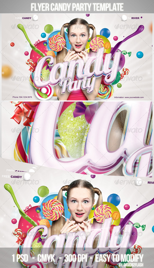 Flyer Candy Party Template - Clubs & Parties Events