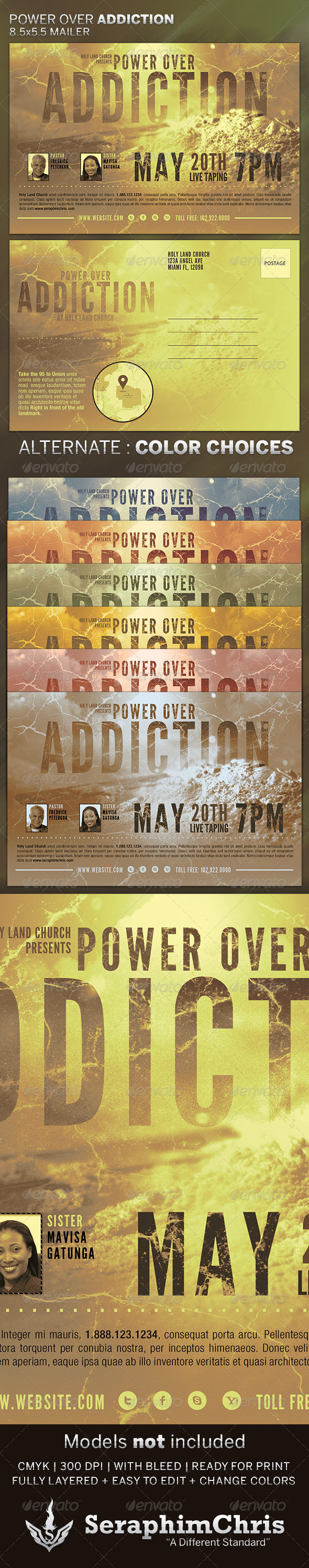Power over Addiction: Church Flyer Template - Church Flyers