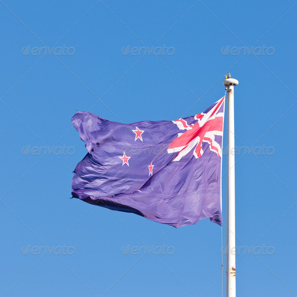 New Zealand national flag banner flying on pole - Stock Photo - Images
