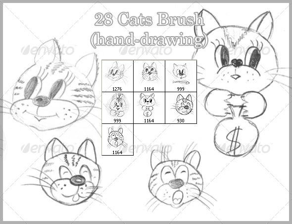 GraphicRiver 28 Cats Brush hand-drawing 4422107
