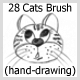 28 Cats Brush (hand-drawing) - GraphicRiver Item for Sale