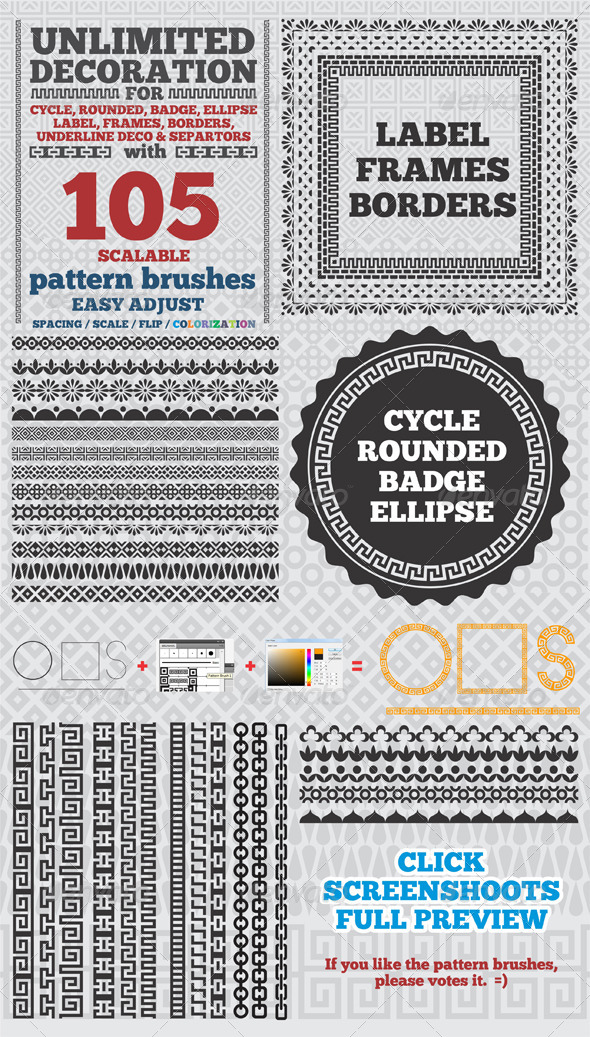 105 Borders Cycle Patterns Brushes for Illustrator - Miscellaneous Brushes