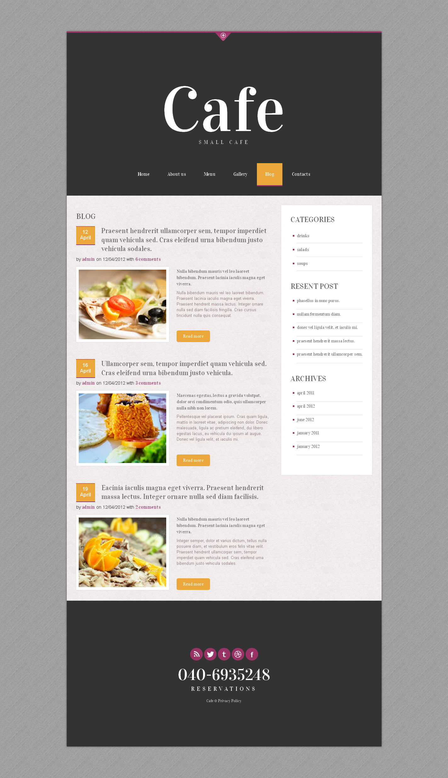 Cafe - Responsive Restaurant Website Template