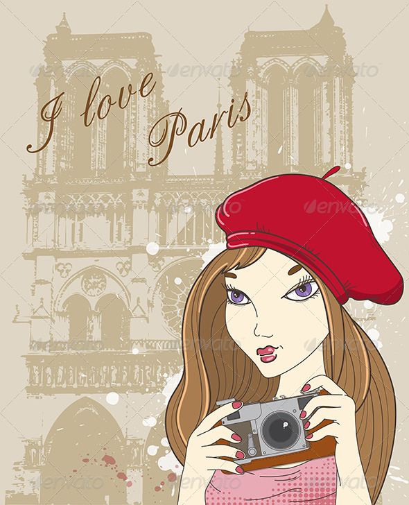 GraphicRiver Girl with Camera in Paris 4424349