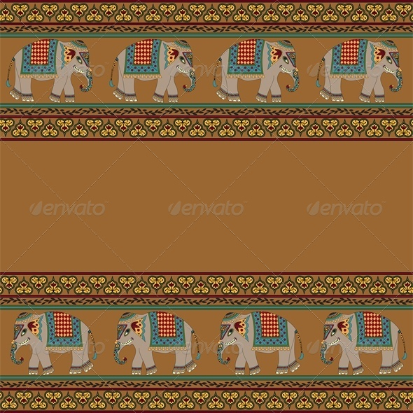 GraphicRiver Indian Pattern with Elephant 4426550