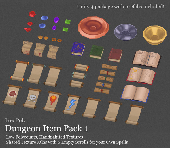 3DOcean Low Poly Dungeon Item Pack 1 4427153