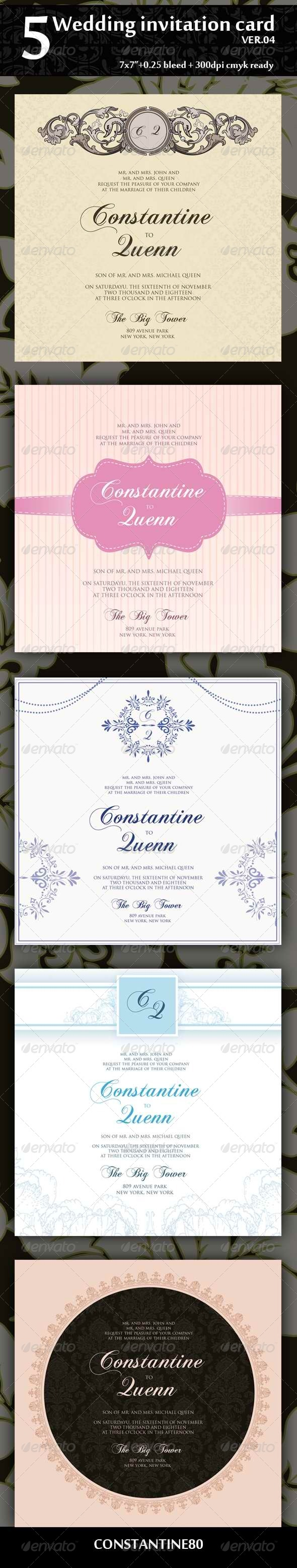 5 Wedding Invitation 7x7 Ver.04 - Weddings Cards & Invites