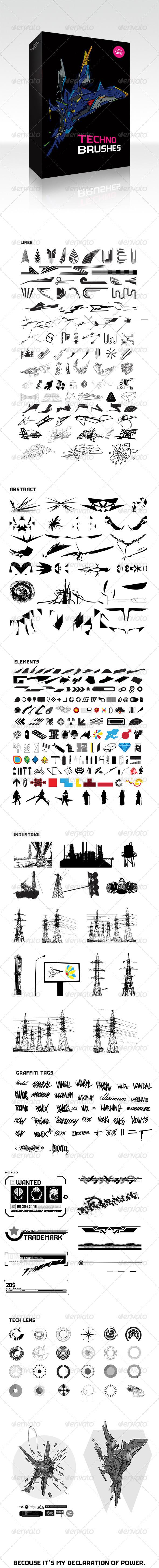 GraphicRiver 400 Techno Brushes 4430127