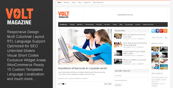 Volt - Magazine / Editorial WordPress Theme - News / Editorial Blog / Magazine