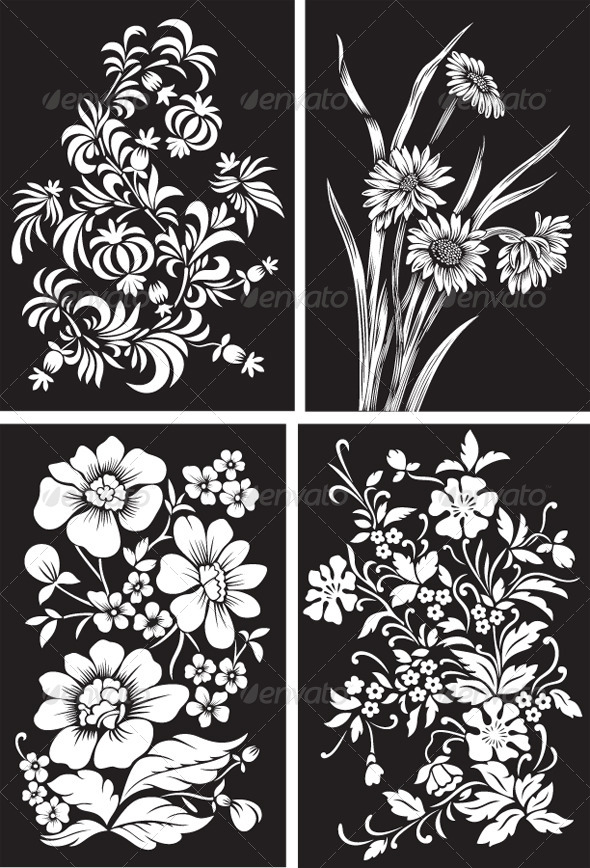 GraphicRiver Set of Black Backgrounds with White Flowers 4430711