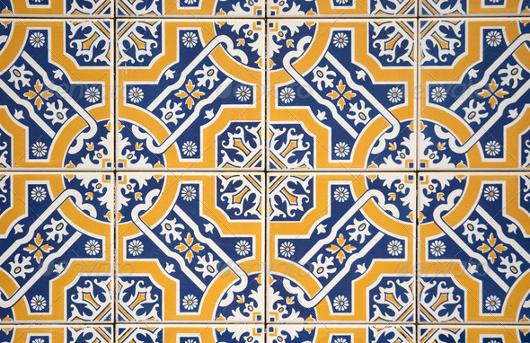 Ornamental old tiles - Stock Photo - Images