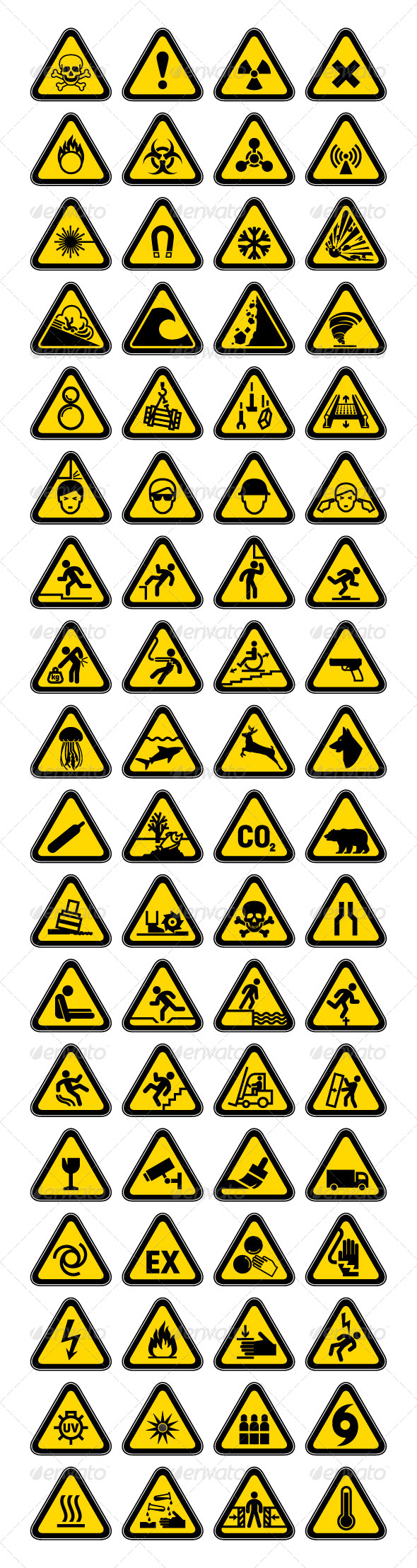 GraphicRiver 72 Hazard Warning Symbols Labels Triangular 4431960