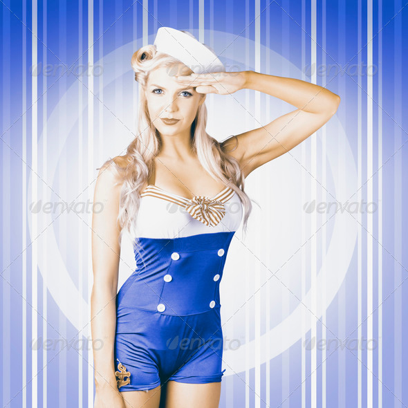 American pinup poster girl in military uniform - Stock Photo - Images