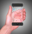 Transparent Mobile Smart Phone in man's Hand showing SOS - PhotoDune Item for Sale