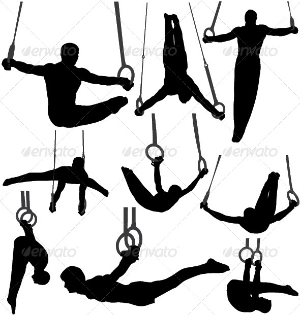 GraphicRiver Gymnastics Rings Silhouettes 4433123