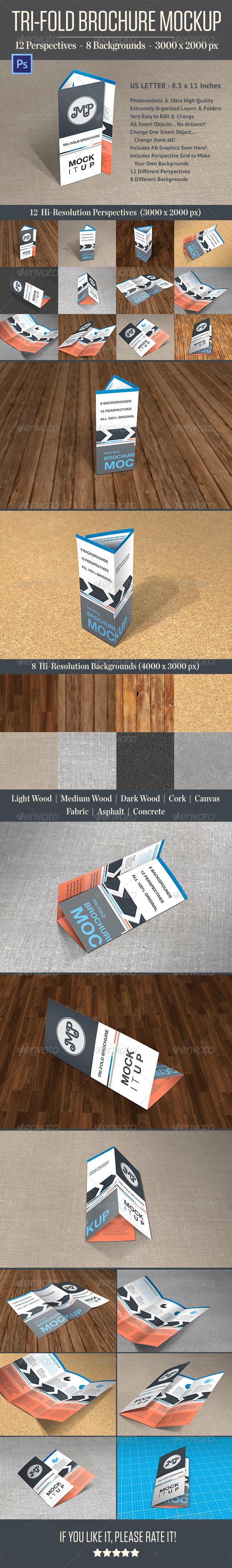 GraphicRiver Photorealistic Trifold Brochure Mockup 4433771
