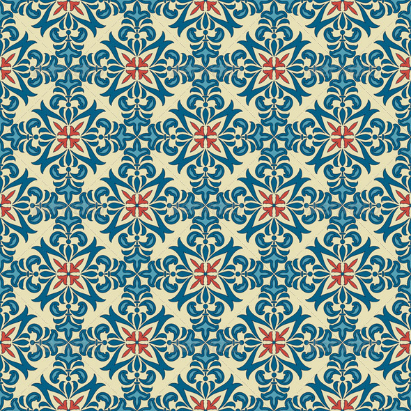 GraphicRiver Vector Seamle Vintage Floral Pattern 4436476