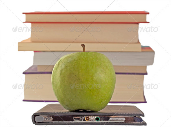 Apple and eBook - Stock Photo - Images