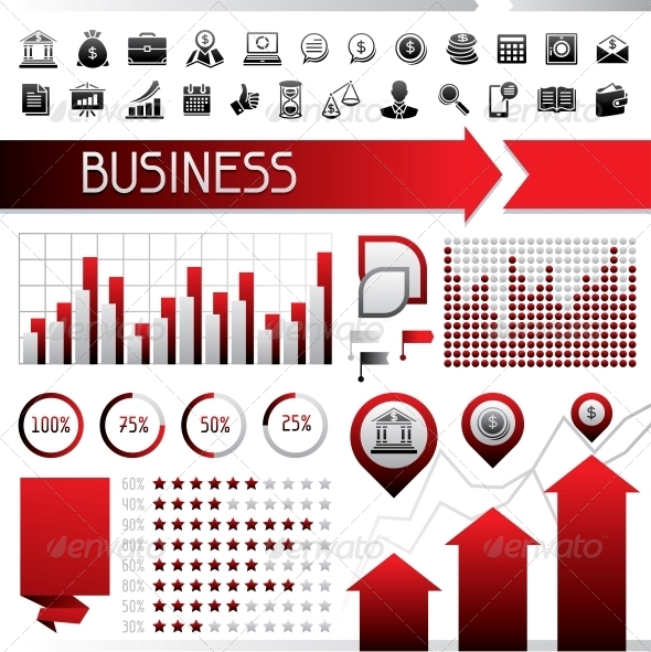 GraphicRiver Set of Infographics and Business Icons 4437762