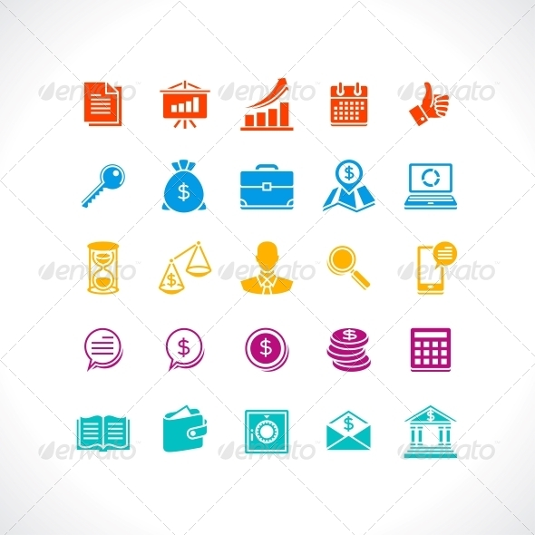 GraphicRiver Set of Business and Money Web Icons 4437766