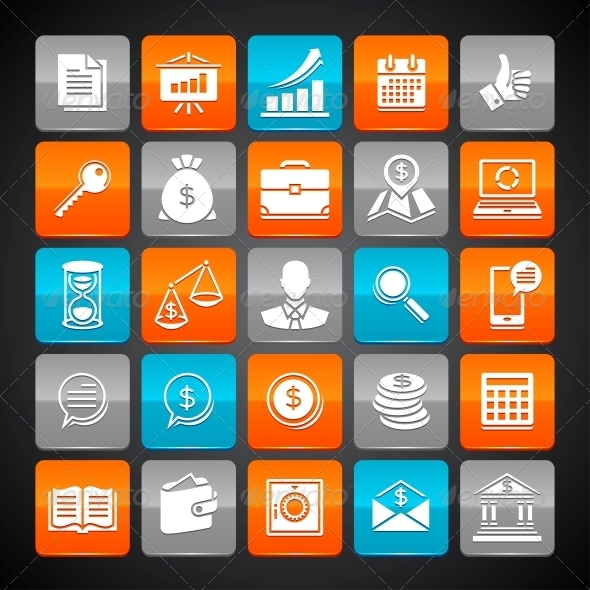 GraphicRiver Set of Glossy Business and Money Web Icons 4437768