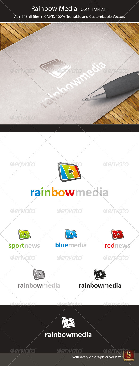 Rainbow Media Logo Template - Vector Abstract