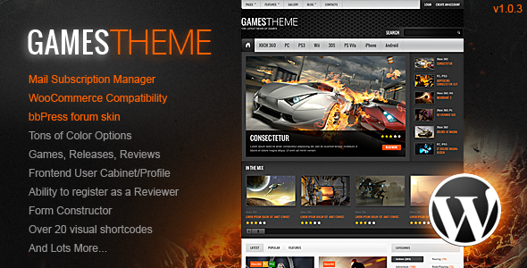 GamesTheme Premium WordPress Theme - Entertainment WordPress