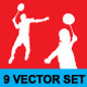 Badminton Silhouette Vector Set - GraphicRiver Item for Sale
