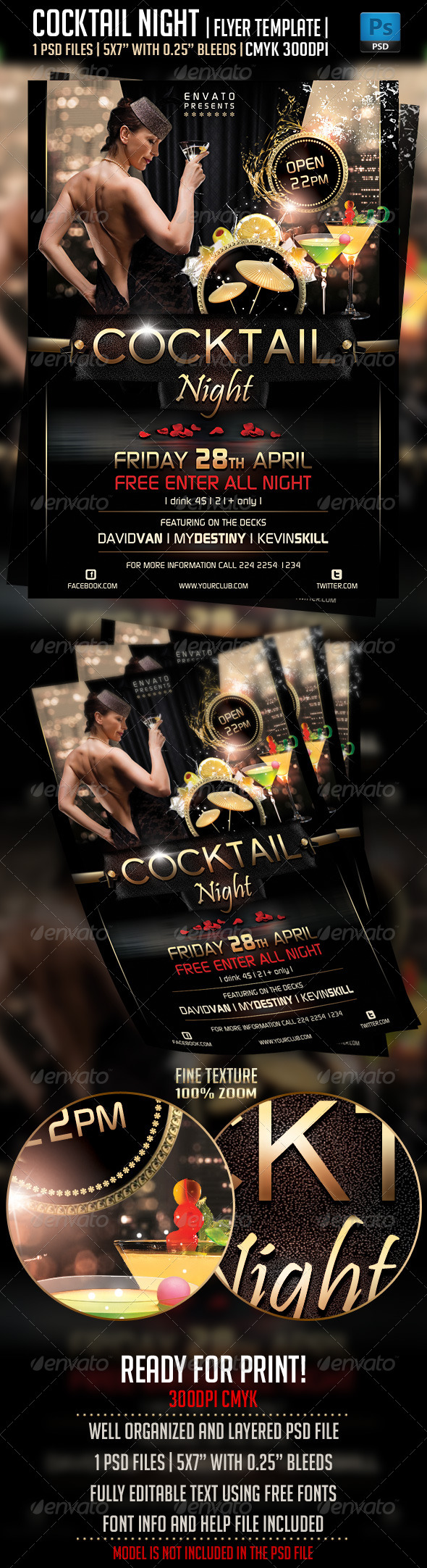 Cocktail Night Flyer Template - Clubs & Parties Events