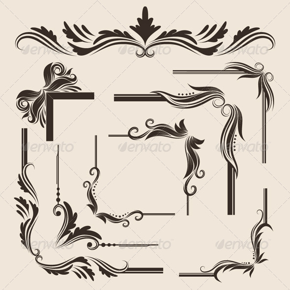 GraphicRiver 9 Decorative Frame Vector Set 4442057