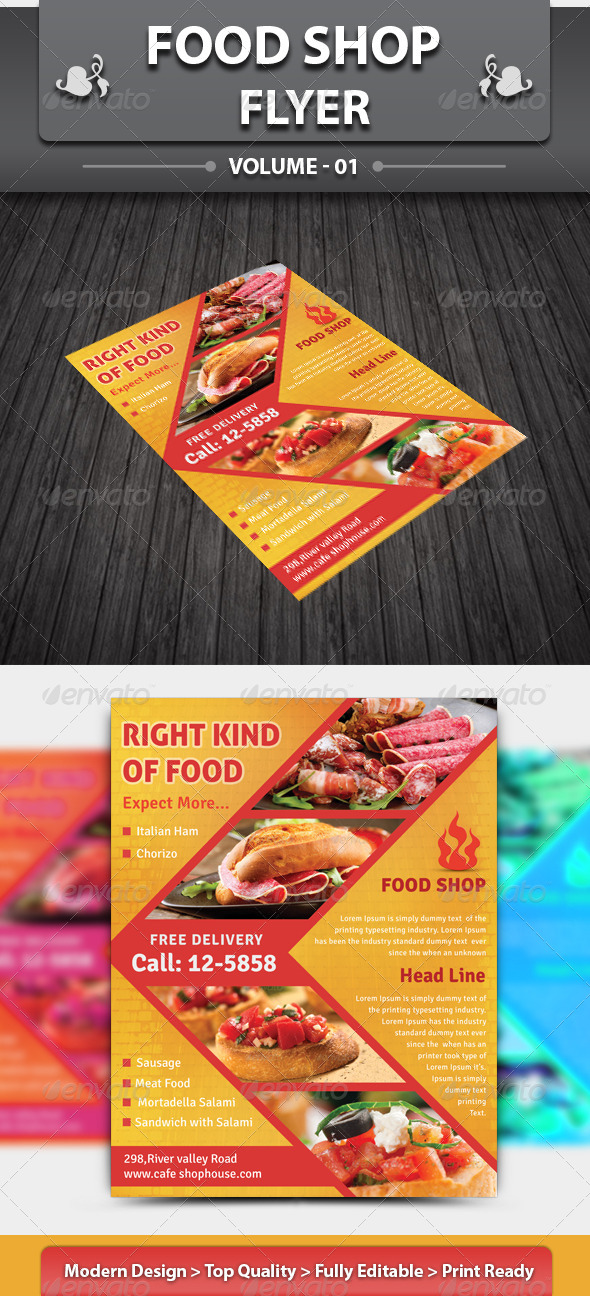 GraphicRiver Food Shop Flyer 4442709