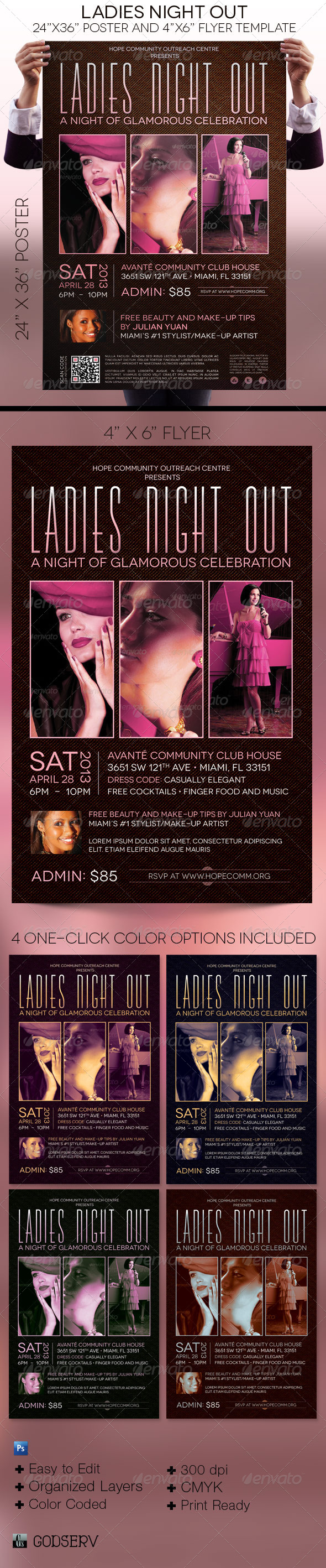 Ladies Night Out Poster and Flyer Template - Events Flyers