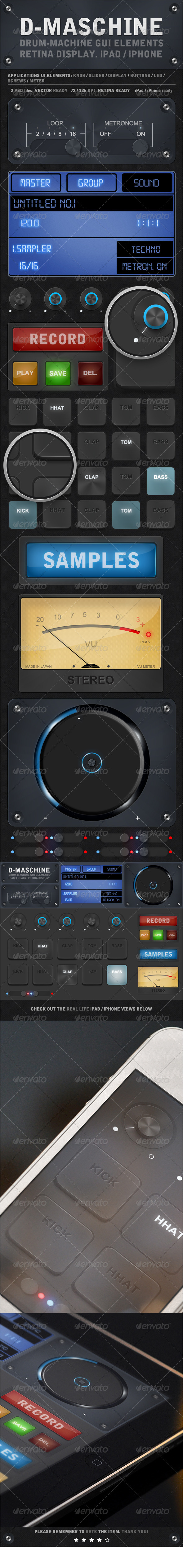D-Maschine iPad / iPhone UI Elements - User Interfaces Web Elements