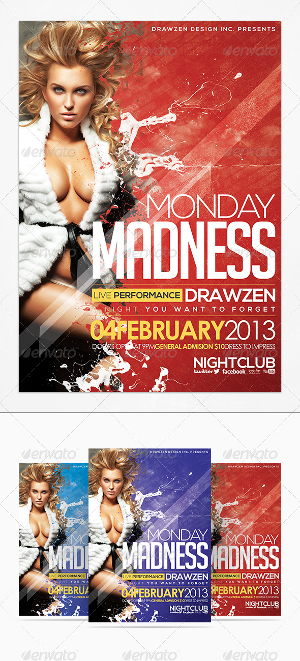Monday Madness Party Flyer - Clubs & Parties Events