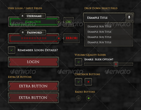 RPG User Interface Elements - Miscellaneous Graphics